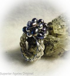 Silver Pearls Woven Ring | JewelryLessons.com
