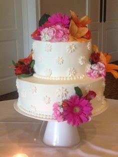 2-tier with Bright Flowers