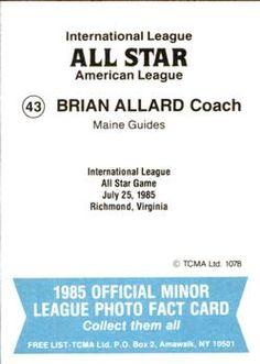 1985 TCMA International League All-Stars #43 Brian Allard Back