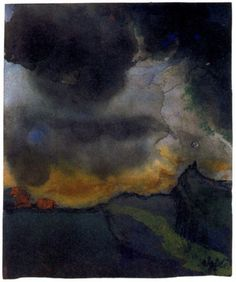 Emil Nolde - Mountain Landscape with Dark Clouds. watercolor.