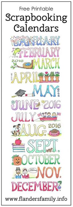 Free printable monthly calendars for scrapbooking, micro-journaling, and bulletin boards   www.flandersfamily.info:
