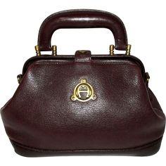 Vintage Etienne Aigner Oxblood Leather Mini Satchel Bag 62b0be3baf3cd