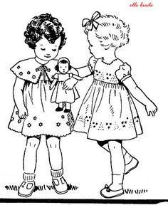 Two little girls and their dolly ~ Embroidery Pattern