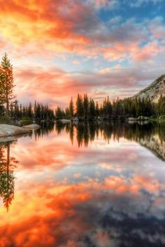 Cathedral Lake at Yosemite National Park, California