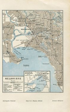 Vintage map of the city of Melbourne in Australia. This street map was part of a Spanish encyclopedia published in the Text in Spanish. Melbourne Map, Melbourne Australia, Inner Circle, City Maps, Historical Maps, City Streets, Cartography, 1920s, Cities