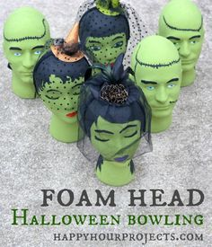 Foam Head Frankenstein Bowling Looking for a spooky activity for your Halloween party? This Frankenstein-themed foam head bowling game is fun for kids and adults Fairy Halloween Costumes, Theme Halloween, Halloween Carnival, Halloween Birthday, Holidays Halloween, Halloween Treats, Vintage Halloween, Diy Halloween, Happy Halloween