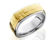 Hammer #9: Solid Gold 14k yellow over 14k white 8mm wide Euro Square design with stepped edges.