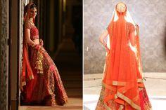 A crimson lehenga with antique gold work teamed with an orange dupatta from GYANS, Delhi for Bride Smiti Talwar of WeddingSutra. Photos Courtesy- FlashWave Studios, Ashiishh Kalra and Sourabh Katoch Photography