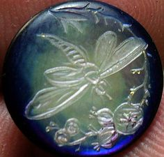 Engraved Dragonfly on Dyed Pearl Antique Button.