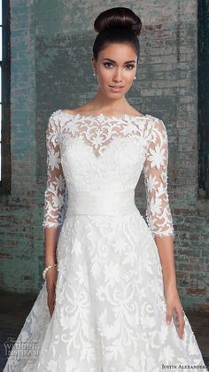 Justin Alexander Signature Spring 2016 Wedding Dresses   Wedding Inspirasi   Filigree Lace A-Line Bridal Ball Gown With 3/4 Length Sleeves & Bateau Neckline, Satin Cumberbund At Natural Waist, V Cut Back, Satin Buttons Down The Length Of The Cathedral Train....................................
