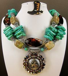 CAYA'S SOUTHWESTERN COWGIRL Western Rodeo Queen Turquoise Necklace  - WiLD BRoNCo -