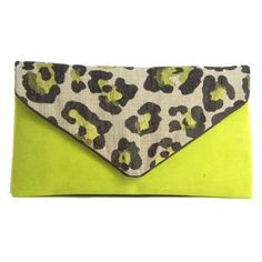 Neon Green Suede Twill Cheetah Print Envelope Clutch ($55) ❤ liked on Polyvore featuring bags, handbags, clutches, brown handbags, suede purse, envelope clutch bag, envelope clutch and cheetah purse