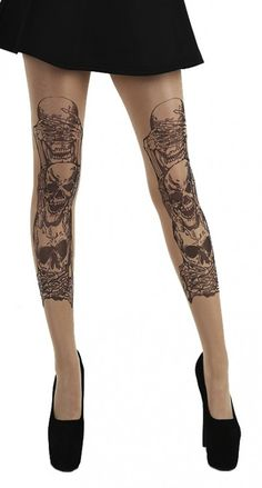 510a3d5ba45a7 See, Hear, Speak No Evil Tattoo Tights Tattoo Tights, Pantyhose Lovers, Evil
