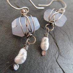 Silver dangling Earrings Wire Wrapped Gemstone Pearl by artdi