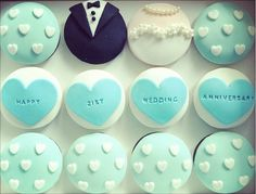 Wedding anniversary cupcakes.