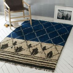 Rugs - Inspired by traditional Moroccan textiles, the handwoven Nural Wool Rug features contrasting yarns in a diamond pattern.