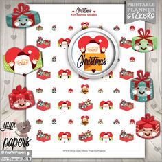 Christmas Stickers, Planner Stickers, Christmas Planner Stickers, Christmas Stamp, Printable Planner Stickers, Planner Accessories