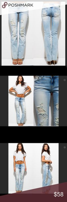 NWT DESTROYED Lt  Washed Jeans Jr size 7=W size 6 NWT comfortable (2%) spandex light washed destroyed jeans.   Well constructed  Fabric: 98% cotton 2% spandex True to size:  Juniors to women's: 3=2, 5=4, 7=6, 9=8, 11=10 & Other Stories Jeans Straight Leg