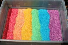 Rainbow rice _ I've made this and my kids LOVE it. It's messy, but I put down a plastic tablecloth to capture some of the mess.