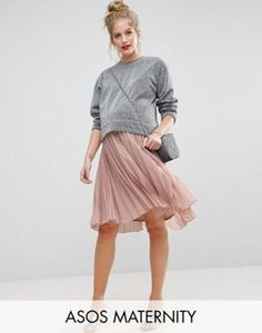 ASOS Maternity Pleated Midi Skirt