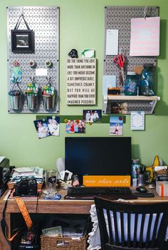 Wall Control Pegboards can be used side by side or spaced out like this to create a chic, artsy home office wall storage area. Thanks for the great customer submission Jeni!
