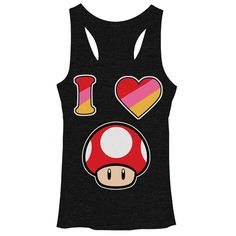 Heart ThemFrom Super Mario to Mario Kart, mushrooms play a major role in the Mario universe, and in the Nintendo Mushroom Heather Black Racerback Tank Top! This cute black tank top with a fun racerback cut is perfect for video gamer gals who are mad about MariNintendo Super Mario