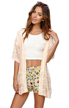kimono, crop top and shorts