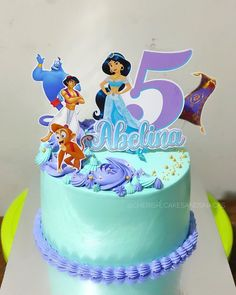 Jasmine Birthday Cake, Jasmine Party, Birthday Cakes, Cake Icing, Buttercream Cake, Cake And Cupcake Stand, Cupcake Cakes, Princess Jasmine Cake, Fete Emma