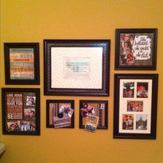 Collage From Recycled Picture Frames For A Fun Game Room Wall