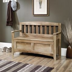 antique pine settle bench with storage - photo angle #2 | Hall tree ...