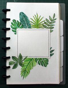 Bullet journal June or July setup. Disc binder bujo watercolor tropical leaves