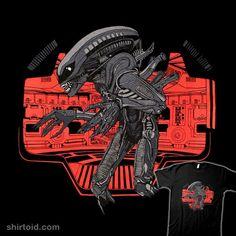 Alien Xenomorph by Tyler Stout Xenomorph, Aliens, Spiderman, Indie, Film, Darth Vader, Superhero, Fictional Characters, Shirts