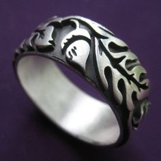 Extra Wide Silver Oak Ring by sudlow on Etsy