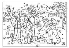 kleurplaat zingen in de winter