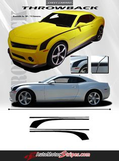 Vehicle Specific Style Chevy Camaro Throwback Side Door Hockey Stick Stripes Vinyl Graphic Decals Year Fitment 2010 2011 2012 2013 - Fits All Models or 2014 201