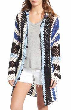 Main Image - Standard Form Crochet Cover-Up Hoodie