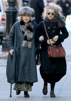 Out and about: The mother and daughter duo were also seen taking a stroll arm-in-arm in NYC on Sunday