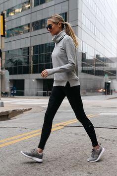 Blonde Woman Wearing Alo Grey Funnel Neck Sweatshirt Alo Black Moto Leggings Nike Roshe Two Knit Grey Sneakers Fashion Jackson Dallas Blogger Fashion Blogger Street Style Athletic Workout Apparel
