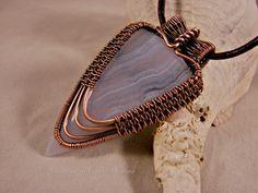 Blue Crazy Lace Agate, oxidized copper pendant.