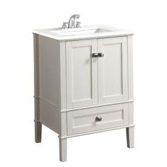 Simpli Home Chelsea 24 In. Vanity In Soft White With Quartz Marble Vanity  Top In White And Under Mounted Rectangular Sink