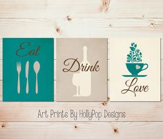 Teal Kitchen decor Modern kitchen art set by HollyPopDesigns