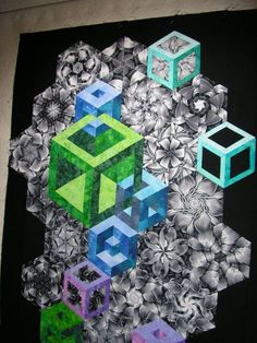 Just got this one ready to be layered and quilted - a wall hanging. It measures x My first interlocking cubes but already working on a One Block Wonder, Geometric Quilt, Hexagon Quilt, Tumbling Blocks Quilt, Quilt Blocks, Quilting Projects, Quilting Designs, Optical Illusion Quilts, Optical Illusions