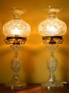Antique Glass Lamps 34 Carved Crystal Art Decorative Pair of Beautiful Lamps Antique Oil Lamps, Vintage Lamps, Vintage Lighting, Hurricane Oil Lamps, Victorian Lamps, Victorian Art, Tiffany, Chandelier Lamp, Chandeliers