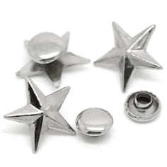 20 Sets Punk Star Pentacle Spike Rivets Studs Spots Silver Tone Fit Crafts Handbags Clothes Shoes 14x13mm 7mm