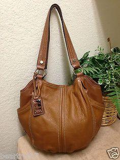Tignanello Brown Tan Pebble Glove Leather Hobo Shoulder Purse Handbag W/fob!!