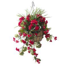 Jardinière Suspendue Géraniums Rouges 18