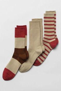 Lands' End - Men's Pattern Cotton Crew Socks (3-pack)