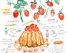 Items similar to Strawberry Charlotte Russe recipe, Kitchen art print, French cake, Home decor, watercolor, fruit dessert, 8X10 poster, pink illustration on Etsy
