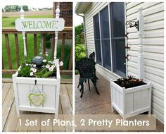 Ana White Planter Upgrade with detail on each version.