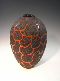 brown - vase - Giraffe Hollow Form - Cherry with African Blackwood Collar - Harvey Meyer Sculptures Céramiques, Wood Sculpture, Glass Ceramic, Ceramic Art, African Pottery, Wood Turning Projects, Lathe Projects, Wood Vase, Gourd Art
